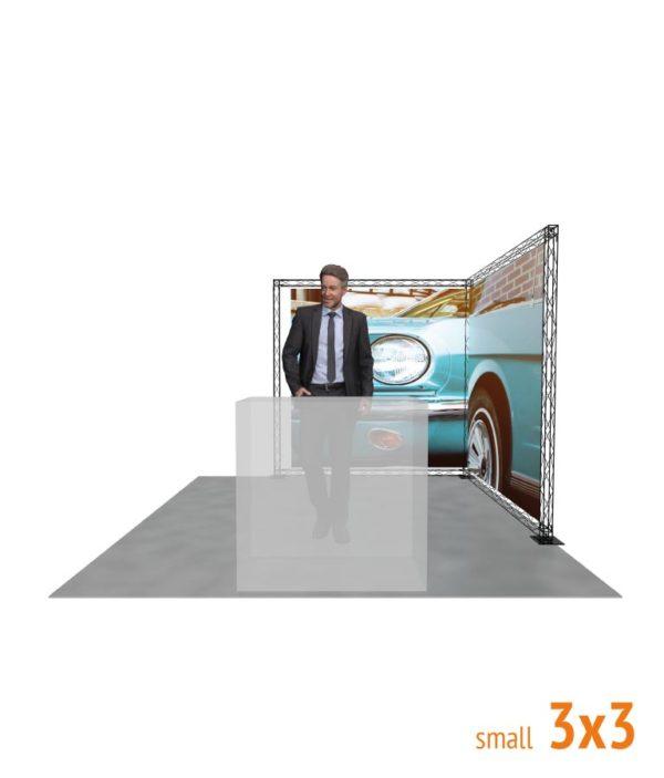 Frontal de Stand promocional Truss Crosswire con forma de L de 3x3