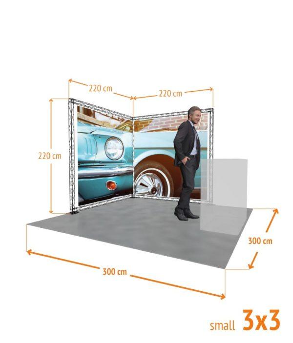 Medidas de Stand promocional Truss Crosswire con forma de L de 3x3