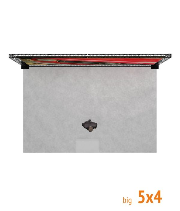 Plano y alzado de Stand promocional de Trusswire para espacios de 5x4